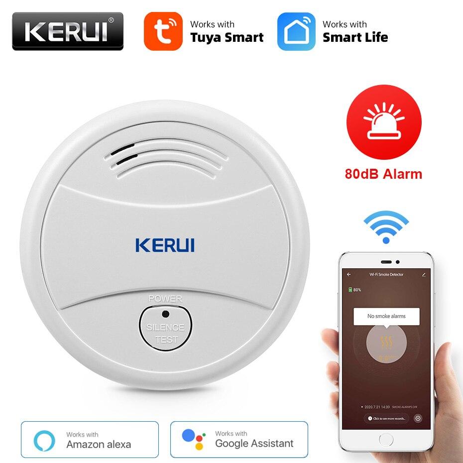 KERUI беспроводной Tuya умный дом WIFI детектор дыма 80дБ противопожарная защита пожарный датчики магазин дома охранная сигнализация