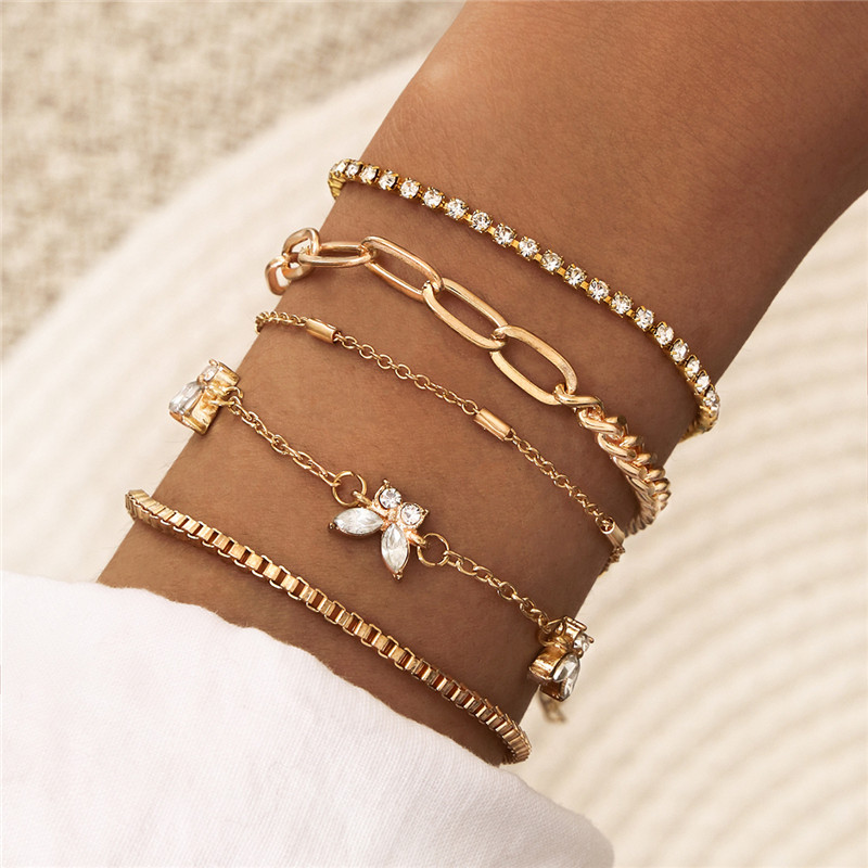 WUKALO Bohemia New Link Chain Charm Bracelet Gold Color Crystal Rhinestone Butterfly Bracelet for Women Jewelry|Chain & Link Bracelets|   - AliExpress