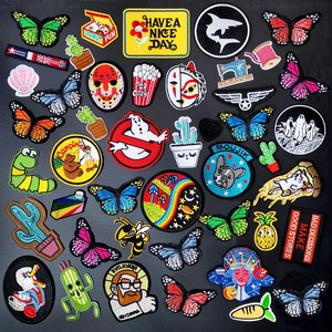 Butterfly Dog Cactus Badges Clothe Embroidery Patch Applique Ironing Clothing Sewing Supplies Decorative Patches For Clothing(China)