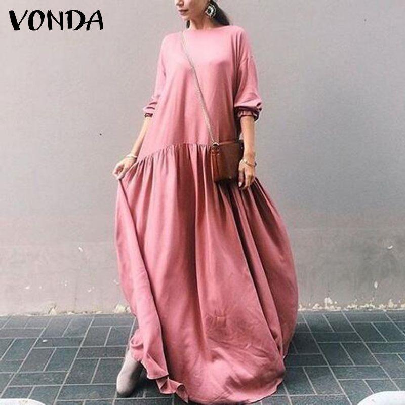 VONDA S-5XL las mujeres vestido Casual de manga larga vestidos holgado y plisado O cuello Kaftan vestido de talla grande de la playa vestido