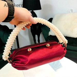 Image 1 - Pearl Handle Boston Handbag Women 2019 Autumn New Korean Handmade Pillow Nylon Red Tote Evening Clutch Bag Female Famous