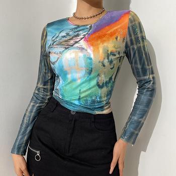 O Neck z długim rękawem t-shirty seksowne krótkie topy 2021 Multicolor Casual Sknny prosta wąska kobieta lato moda koszule damskie tanie i dobre opinie APRIL MODA REGULAR Z popeliny CN (pochodzenie) POLIESTER spandex SHORT NONE tops Z KRÓTKIM RĘKAWEM Pełne Dobrze pasuje do rozmiaru wybierz swój normalny rozmiar