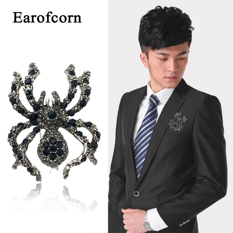 Red Crystal Spider Brooch Pin Anti-Light Silk Scarf Buckle Coat Western Ornament Badge Gift-4
