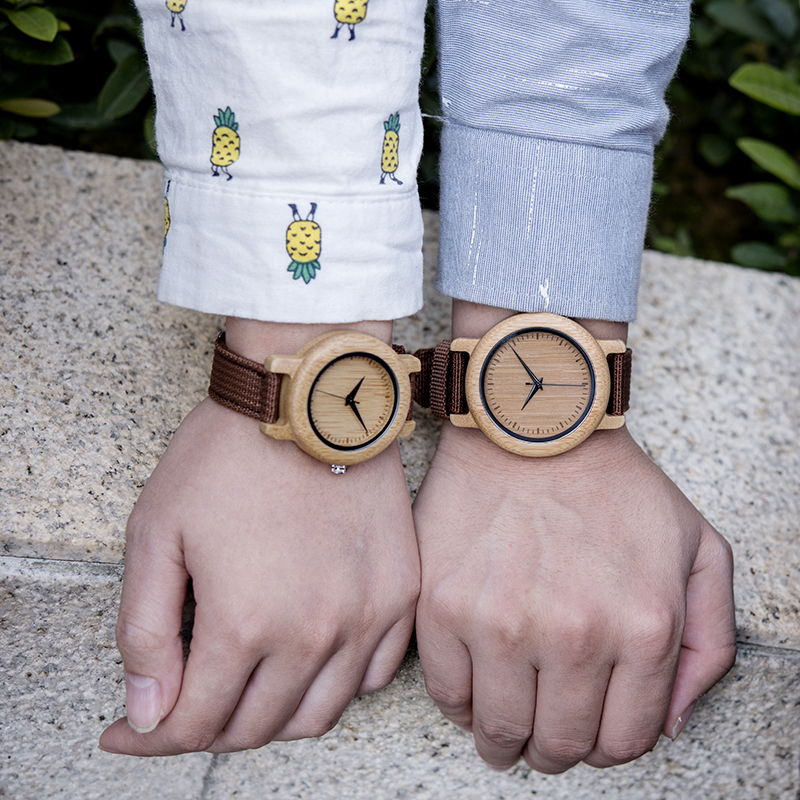 Image 5 - DODO DEER Bamboo Wooden Quartz Wrist Watch for Love Nylon Strap Couple Wooden Customize Watches for Men and Women OEM B05Lovers Watches   -
