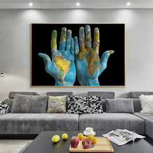 Canvas Painting Prints Poster World Map In Hands Painting Wall Pictures For Living Room Wall Art Modern Home Decor