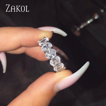 ZAKOL Brand Eternity Rings for Women Luxury Oval Cubic Zirconia Finger Ring Fashion Wedding  Jewelry Femme Girls Couples Gift