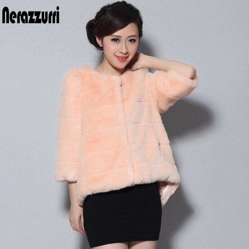 Nerazzurri Pink Faux Fur Coat For Women Three Quarter Sleeve Dovetail Artificial Fur Coat Puff Sleeve Winter Warm Fluffy Jacket