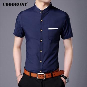COODRONY Brand Cotton Shirt Men Spring Summer Short Sleeve Camisa Masculina Mandarin Collar Business Casual Shirts Pocket C6029S casual drawstring mandarin collar t shirt