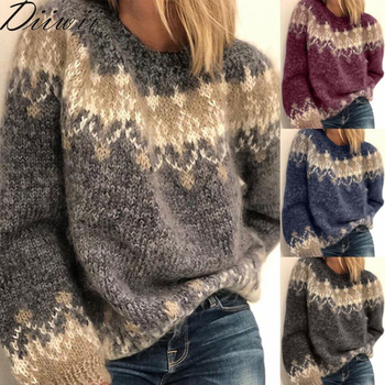 Diiwii Women Sweaters O-Neck Knitted Sweater Autumn Vintage Patchwork Long Sleeve Tops Jumpers Winter Thick Warm Loose Pullover недорого
