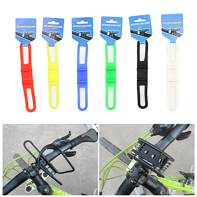 Bicycle Silicone Elastic Torch flashLight Phone Bind Strap Mount Holder ES