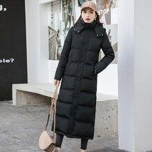 2019 冬ダウンコート女性の冬服ロングスリム厚く暖かいコートフード付き女性パーカープラスサイズ 90% 白アヒルダウンジャケット