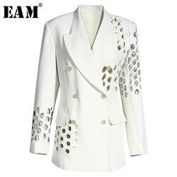 [EAM] Женский Белый двубортный блейзер с дырочками, новая свободная куртка с лацканами и длинным рукавом, весна-осень 2020 1Y332