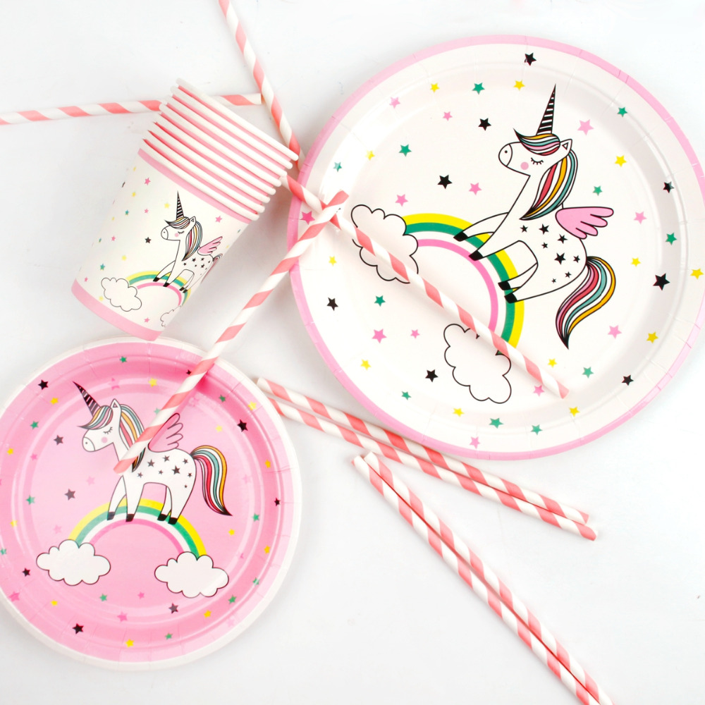FENGRISE Unicorn Disposable Party Tableware Unicorn Party Supplies Unicorn Birthday Set Baby Shower Paper Plate Cups Napkins in Disposable Party Tableware from Home Garden