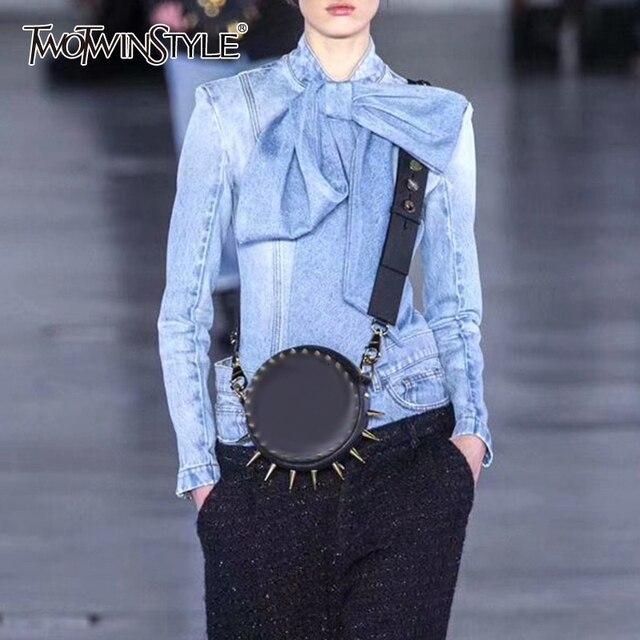 TWOTWINSTYLE Vintage Bowknot Denim Shirts Frauen Bogen Kragen Langarm Dünne Spitze Up Blusen Tops Weibliche 2020 Mode Flut