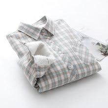Mulheres Inverno de veludo Grosso Manter Quente botões blusas manga Longa Camisa xadrez de Bolso 2019 Feminino topos artigo camisas Cami