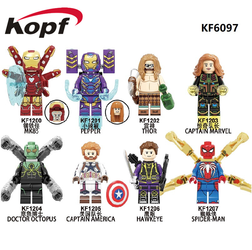 Building Blocks Super Heroes Bricks MK85 Thor Doctor Octopus Pepper Captain America Spider-Man Figures Toys For Children KF6097