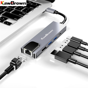 KawBrown 5 in 1 USB C Type-C Hub to USB 3.0 Hub Type-C to HDMI RJ45 Support PD Power Charging for Laptop Macbook Docking Station orico aluminum hub type c to type a type c hdmi converter support pd multi function laptop station for macbook pc