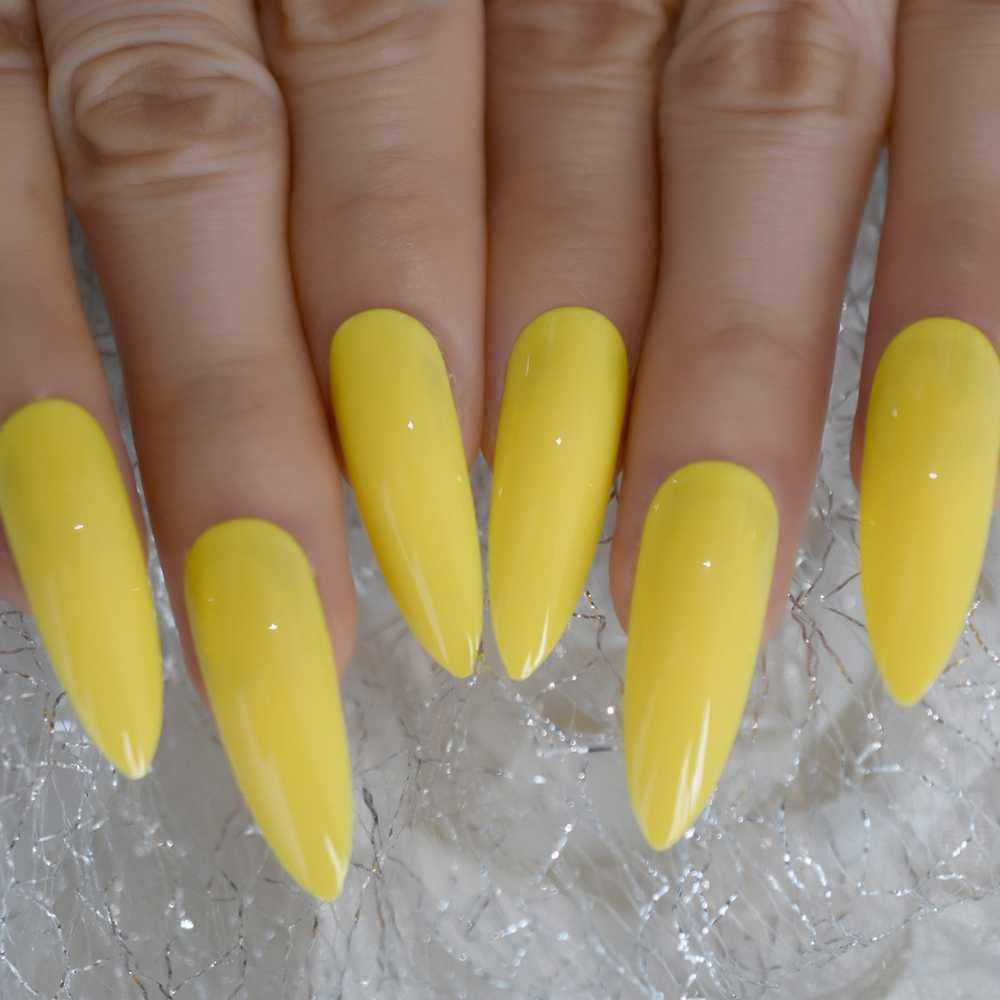 Unhas falsas apontadas longas uv da superfície brilhante longa amarela de néon ongles do falso manicure perfeita para o verão com guias adesivas