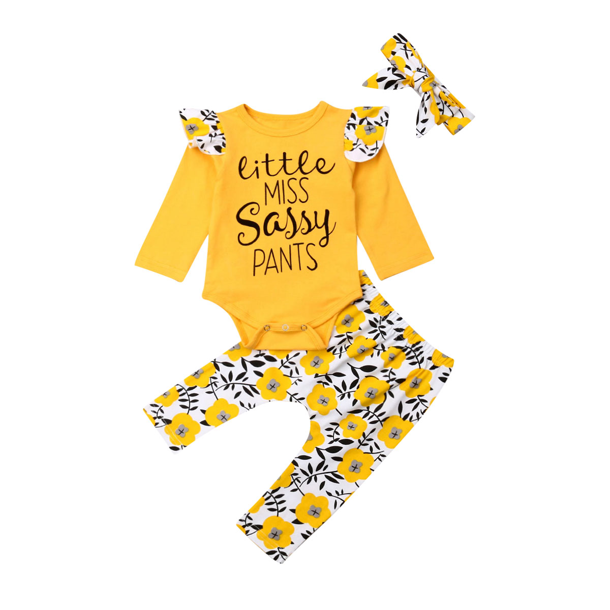 0-24M <font><b>Newborn</b></font> Infant <font><b>Baby</b></font> <font><b>Girls</b></font> <font><b>Clothes</b></font> Little Miss Sassy Dasiy Romper Top + Floral Long Pants + Headband Outfit <font><b>Autumn</b></font> 3PCS Set image