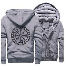 Neuheit Herren Raglan Dicken Sweatshirt Vikings Odin Krieger Legende Männer Zip Jacke 2019 Winter Hoody Fleece Warme Casual Streetwear