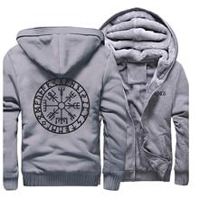 Novelty Mens Raglan Thick Sweatshirt Vikings Odin Warrior Legend Men Zip Jacket 2019 Winter Hoody Fleece Warm Casual Streetwear