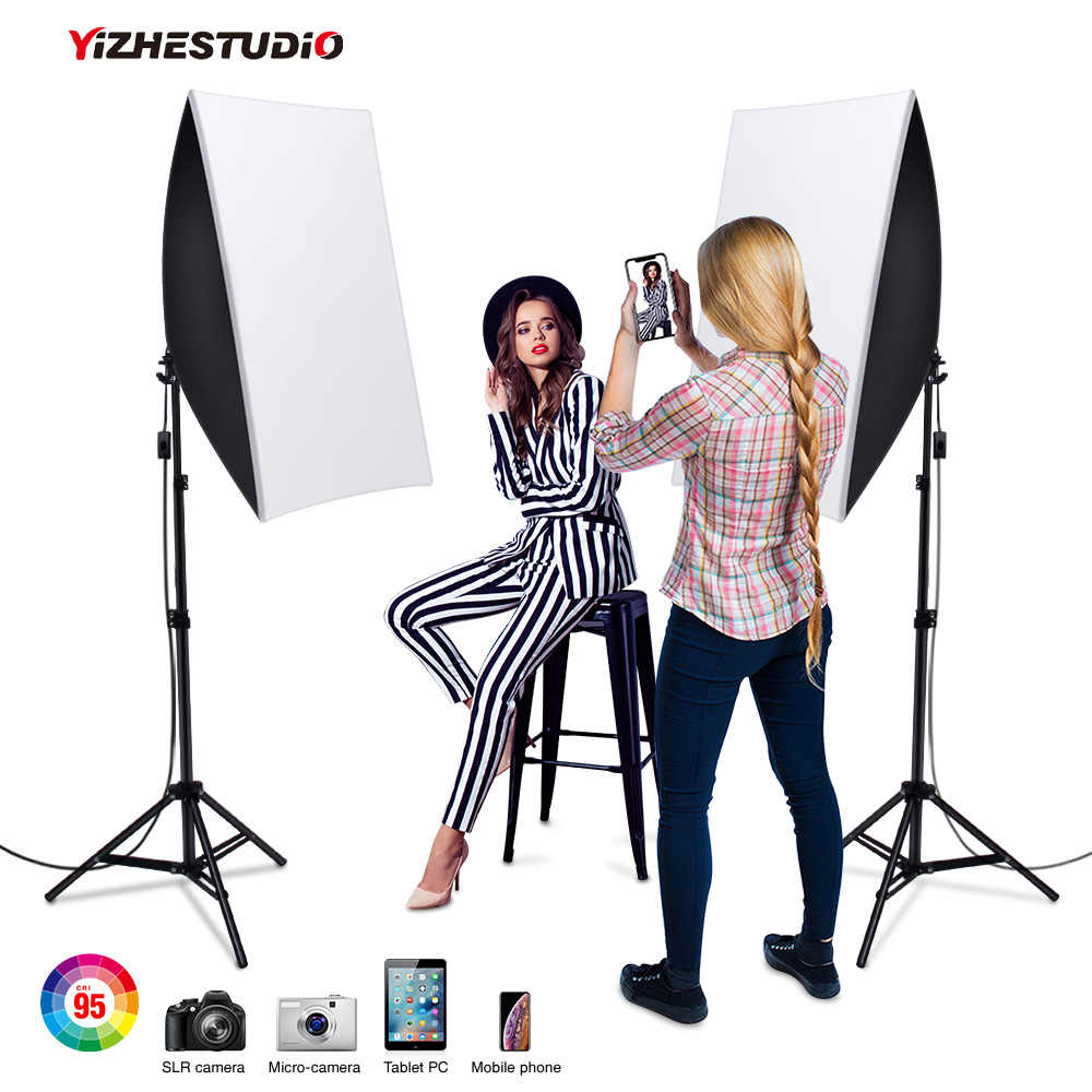 Yizhestudio kit In Studio 50x70CM Illuminazione Softbox con E27 2*58W Supporto Della Lampada, 2M di luce Stand Photo Studio Soft Box Kit