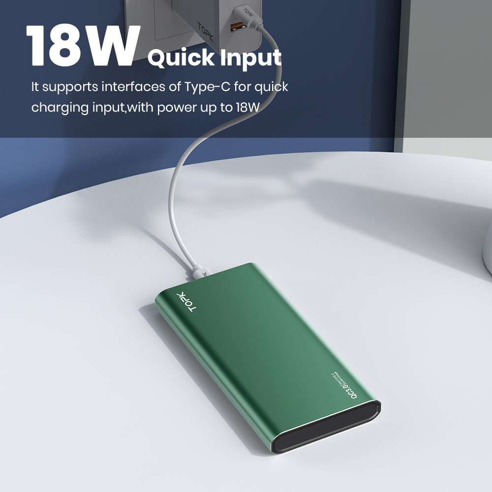 TOPK I1006P Power Bank 10000mAh Portable Charger LED External Battery PowerBank PD Two-way Fast Charging PoverBank for Xiaomi mi