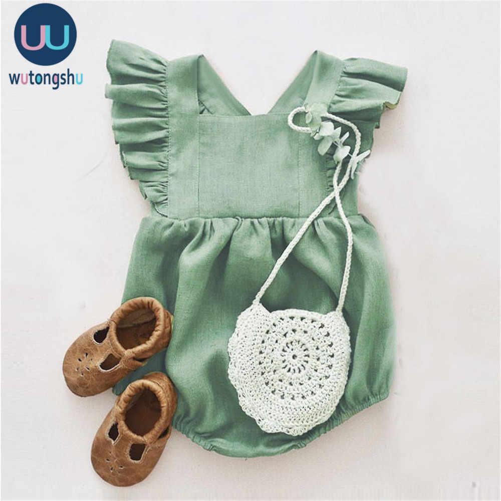 Baby Mädchen Kleidung Baby Strampler Nette Leinen Baumwolle Baby Mädchen Kleidung Frühling Sommer Overalls Outfits Sunsuit Neugeborenen Baby Kleidung