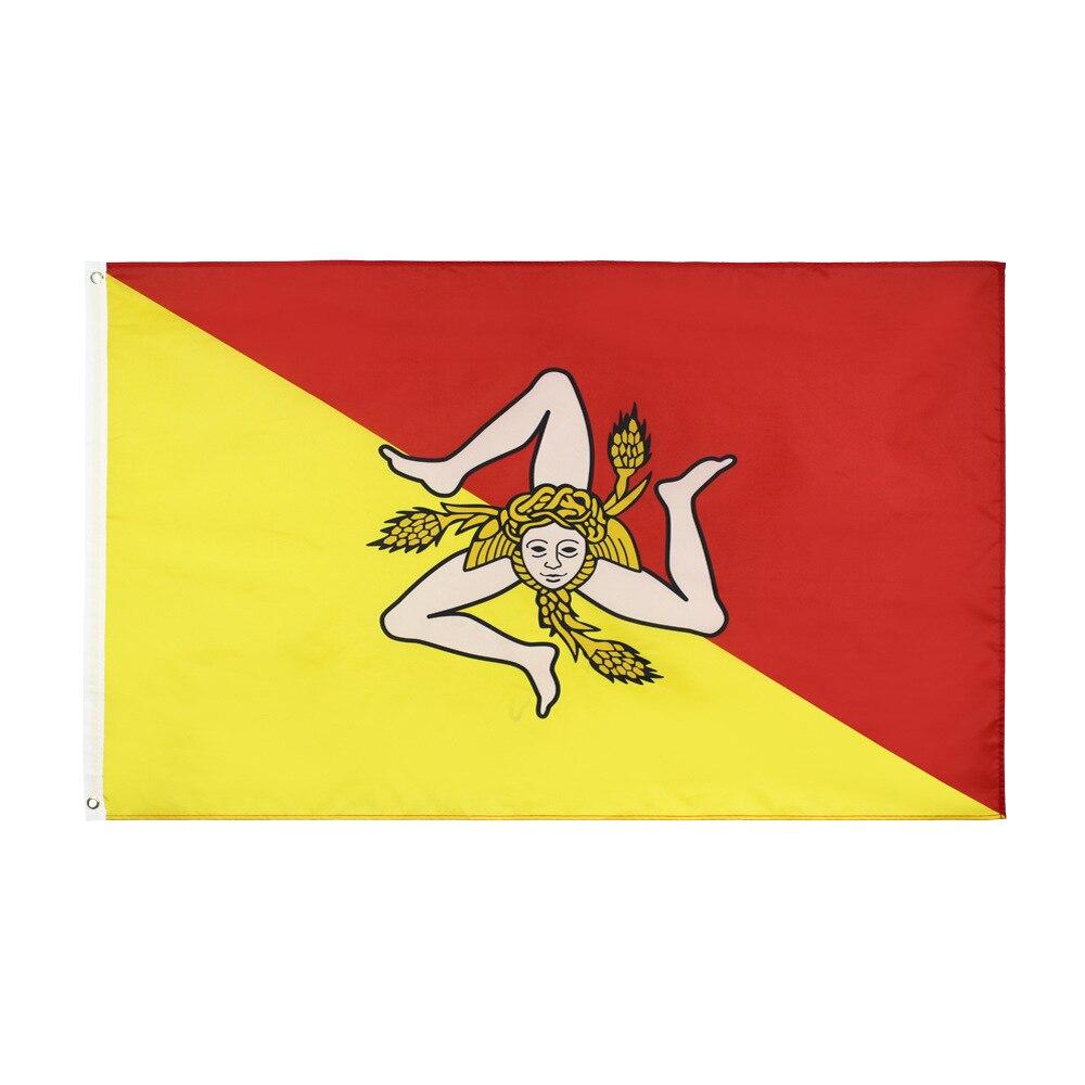 Sicilia Flag Italy Italian Banner Flag 150* 90cm 3ft x 5ft Custom Banner Metal Holes Grommets