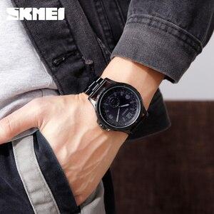 Image 3 - SKMEI Fashion Men Watches Top Brand Luxury Quartz Watch Men Waterproof IP Black Stainless Steel Plating relogio masculino 1513