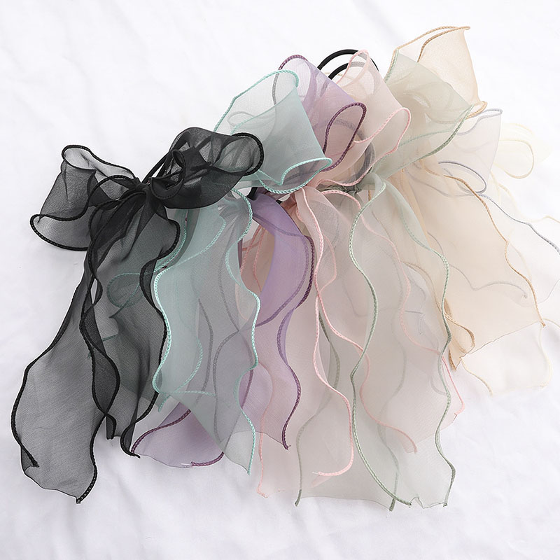 Sweet Bow Organza Streamers Hair Scrunchies Soft Gauze Ponytail Elastic Hair Ties Rope Women Ribbon Bands Girls Hair Accessories