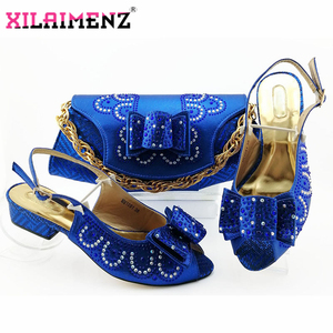 Image 3 - Red High Quality African Woman Sandals Shoes With Purse Set Italian Elegant High Heels Shoes And Bag Set For Wedding Party