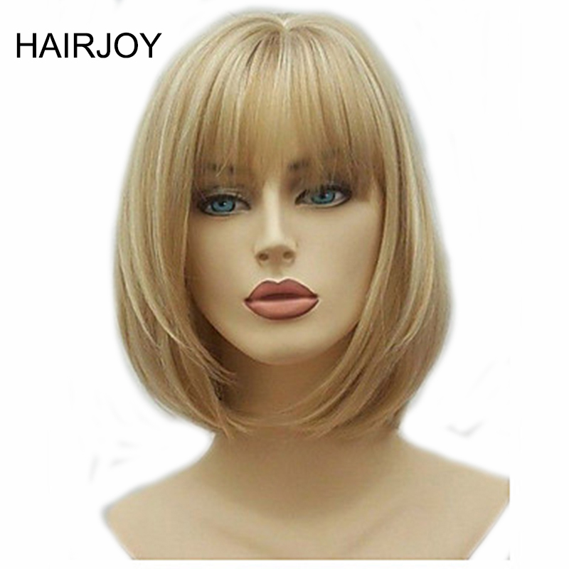 HAIRJOY Women Synthetic Hair Blonde Highlights Bob Short Straight Wig High Heat Fiber 2 Hairstyles Free Shipping