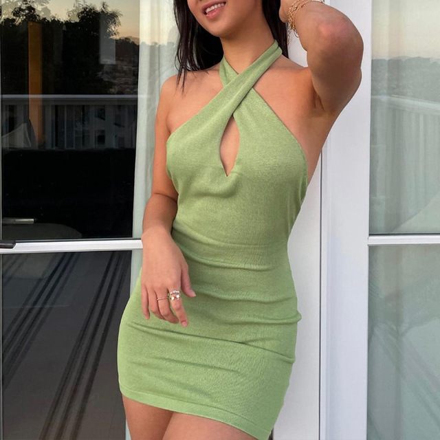 2021 Hollow Out Sexy Dress Women Green Sleeveless Y2K Backless Summer Blue Halter Neck Bodycon Mini Dresses Beach Party Fashion 3
