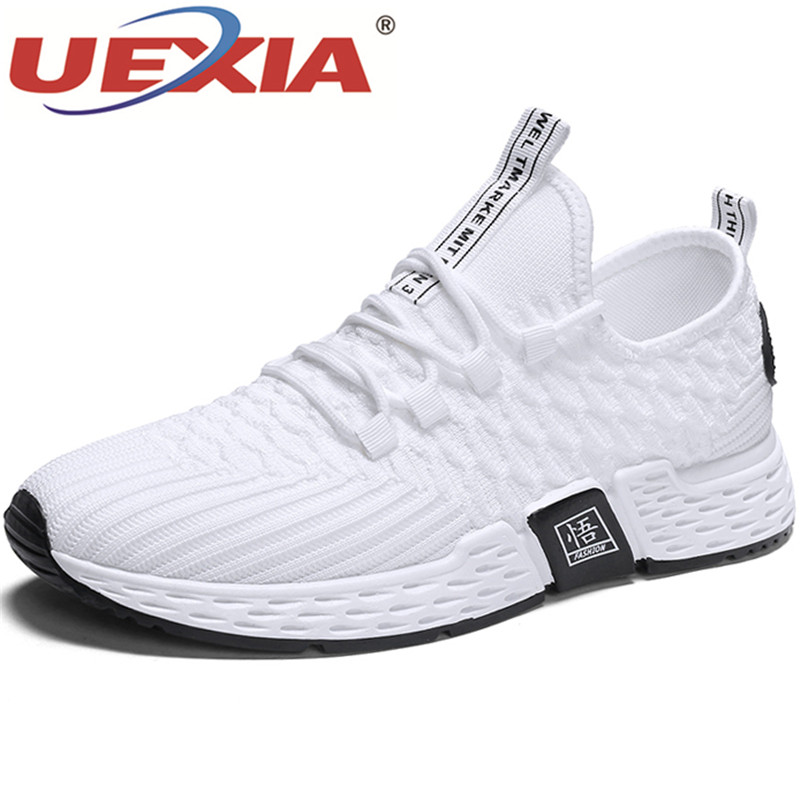 UEXIA Men Shoes Loafers Sneakers Sock Teens Breathable Casual Stylish Light White Slip-On