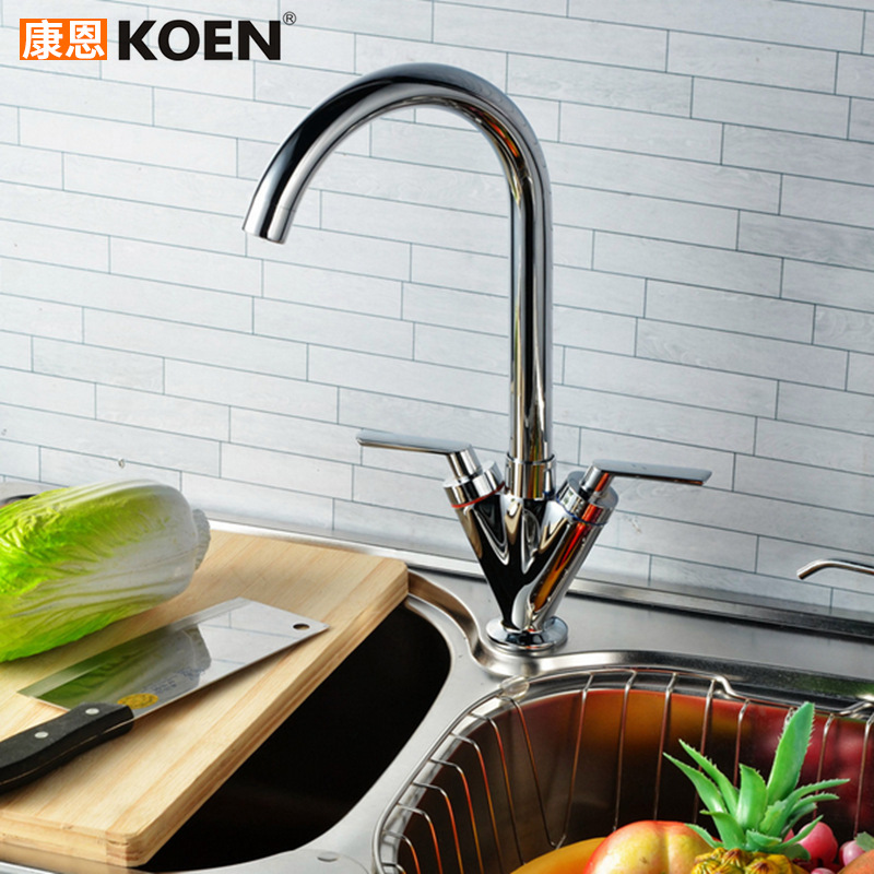 Cross Border For Copper Kitchen Faucet Foreign Trade Chrome-Plated Double Cold Hot Water Mixing Water Sink Faucet