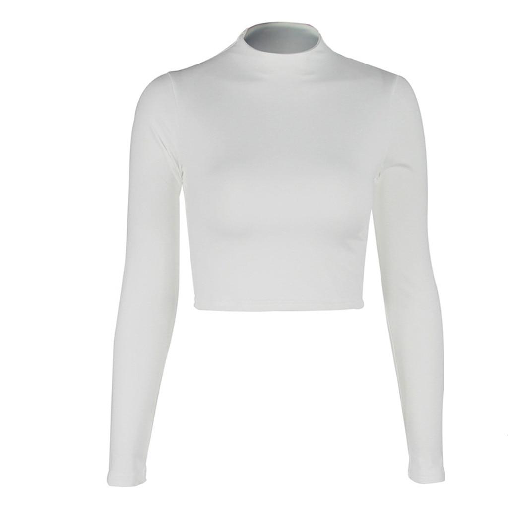 Women Sexy Bodycon T Shirt Autunmn Women Long Sleeve O-neck Crop Top Modis Sheath tshirt Fashion Autumn solid tops 6