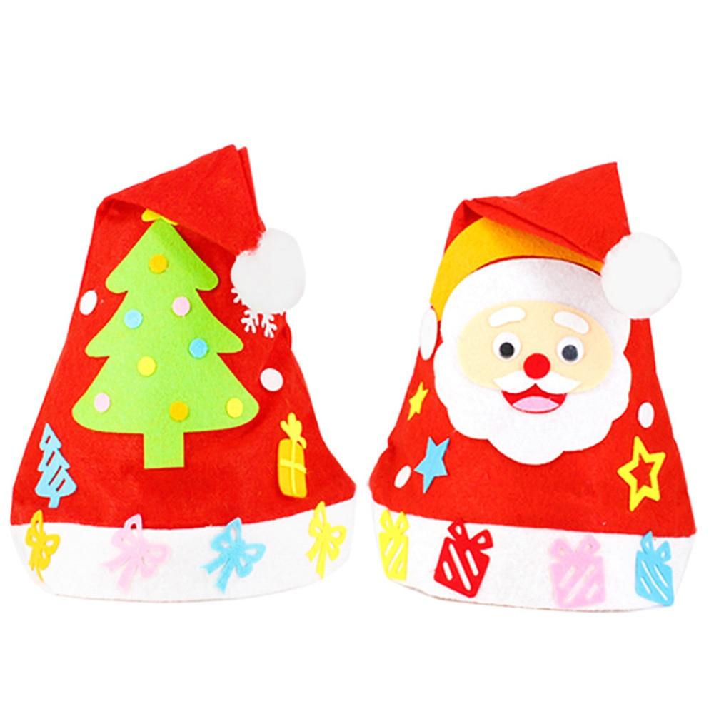 10 Pcs Kids Handmade DIY Christmas Hat Non-woven Santa Snowman Christmas Party Cosplay Hat Gifts Children New Year Xmas Gift