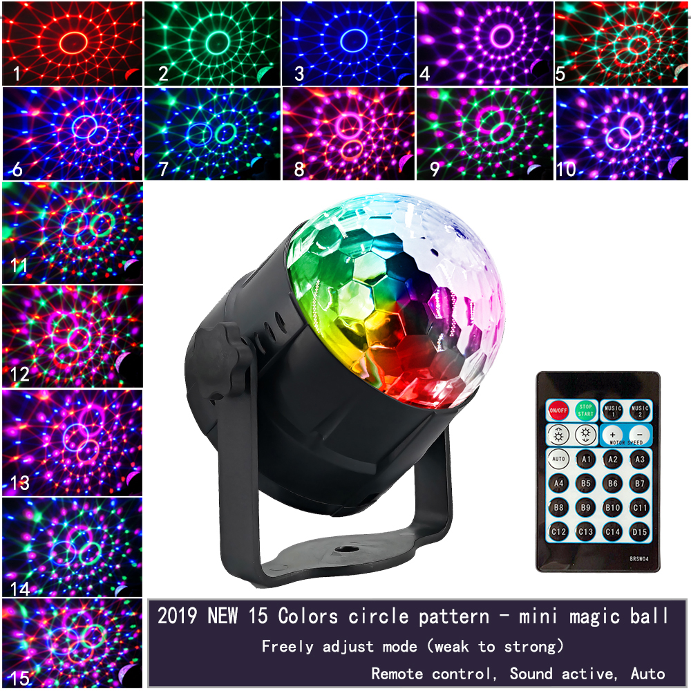 15 Colors Disco Ball LED Stage Light 5W Sound Activated Laser Projector RGB Stage Effect Lamp Light For Bar KTV Party Light