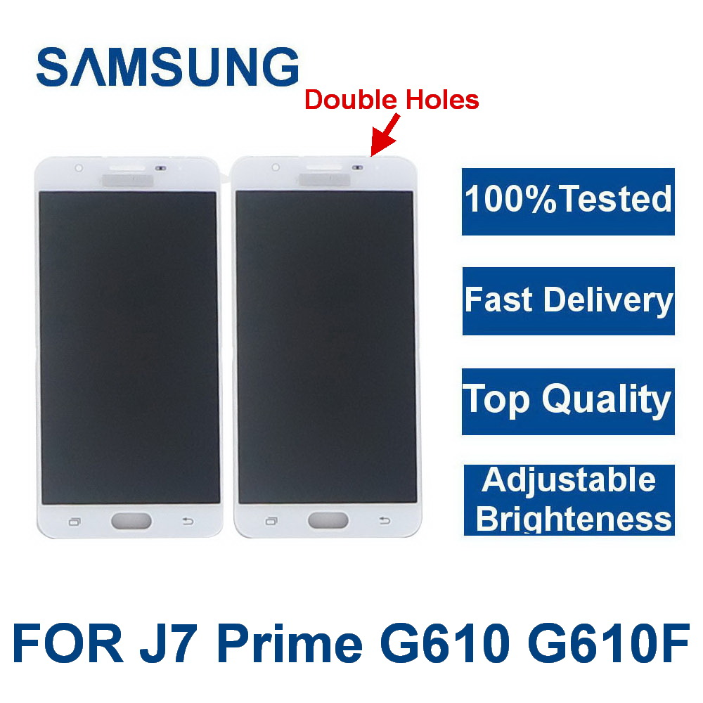 100% getestet Für <font><b>Samsung</b></font> Galaxy <font><b>J7</b></font> Prime G610 G610F On7 <font><b>2016</b></font> G6100 <font><b>LCD</b></font> <font><b>Display</b></font> Touchscreen Digitizer Montage Doppel Löcher image