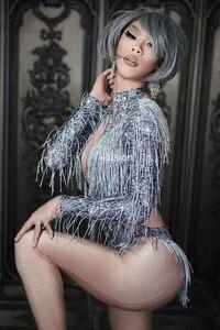 Image 2 - נוצץ ריינסטון שוליים סרבל ריקוד תלבושות גבישים גדולים בגד גוף ציצית בגד גוף מסיבת במה ללבוש ריקוד להראות סקסי תלבושת