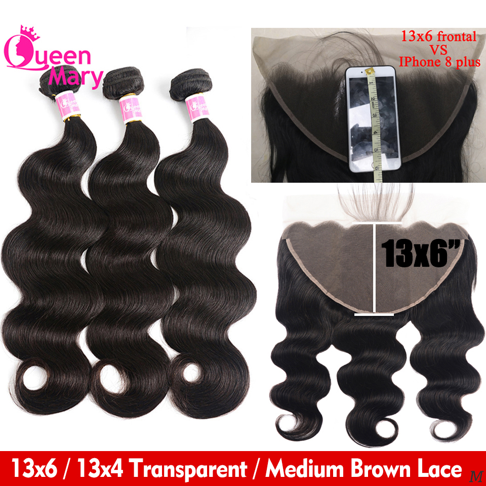 Brazilian Body Wave Bundles With 13x6 /13x4 Frontal Closure Queen Mary 3 Bundles Human Hair Extension & Frontal Closure Non-Remy