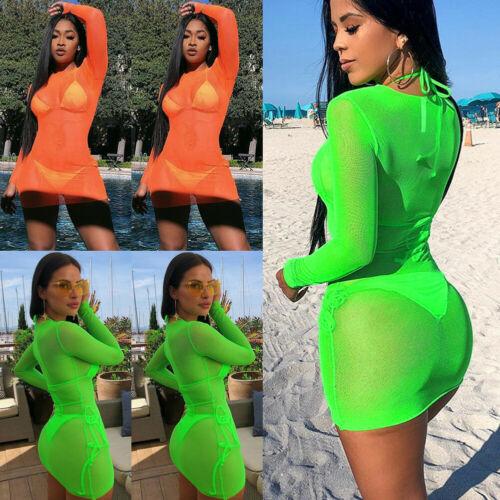 Women's Sheer Mesh Bikini Cover Up Swimwear Swimsuit Bathing Summer Beach Dress