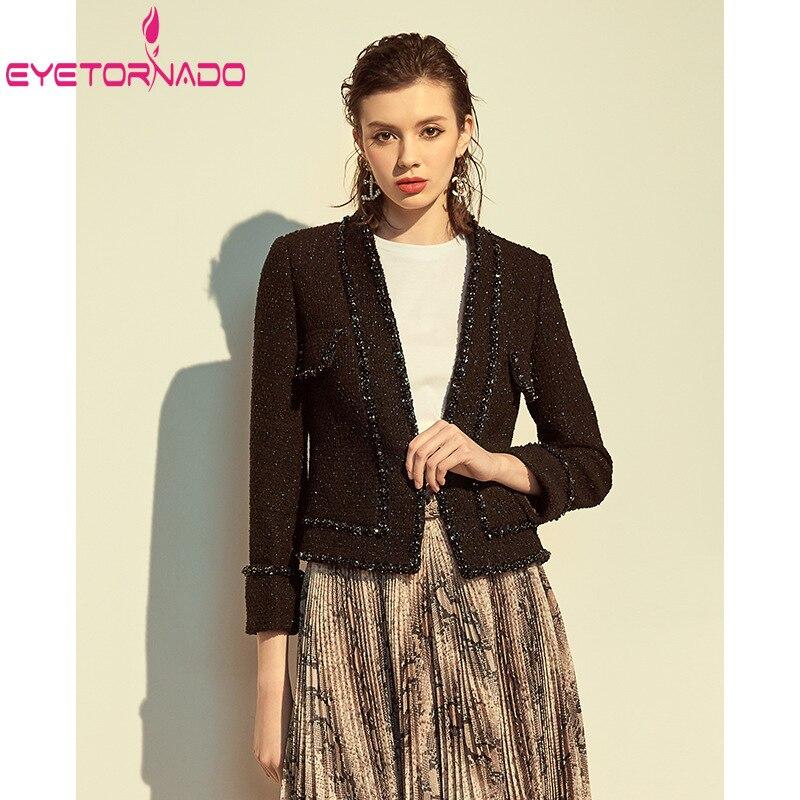 Gemme perles paillettes courte Tweed veste femmes automne élégant bureau travail usure laine manteau mince noir concepteur Tweed manteau Outwear