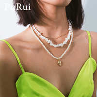 PuRui White Stone Chips Necklace Gold Chain Layered Necklace Imitation Round Pearl Shell Pendant Necklace Beads Choker Jewelry