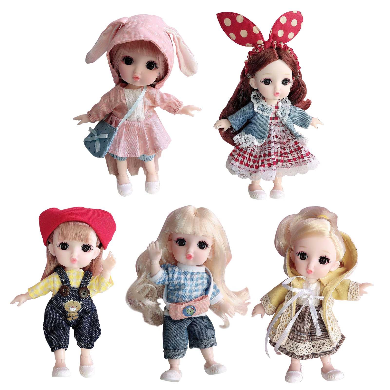 16cm BJD Mini Simulation Doll Girl Baby 3D Big Eyes Beautiful DIY Toy Doll With Clothes Dress Up 1/12 Fashion Doll Cute Girl Toy