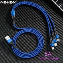 Nohon 5a 3 em 1 cabo usb para iphone carregador de carregamento rápido micro usb tipo c cabo para xiaomi 8 pinos relâmpago cabo