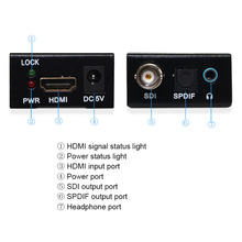 HDMI To SDI SD-SDI HD-SDI 3G-SDI HD Video Converter,HDMI  to SDI Converter With Optical TOSLINK SPDIF 3.5mm Stereo Audio Extract one piece hdmi to sdi video converter one pieces sdi to hdmi video converter adapter bnc sdi hd sdi 3g sdi 2 970 gbit s