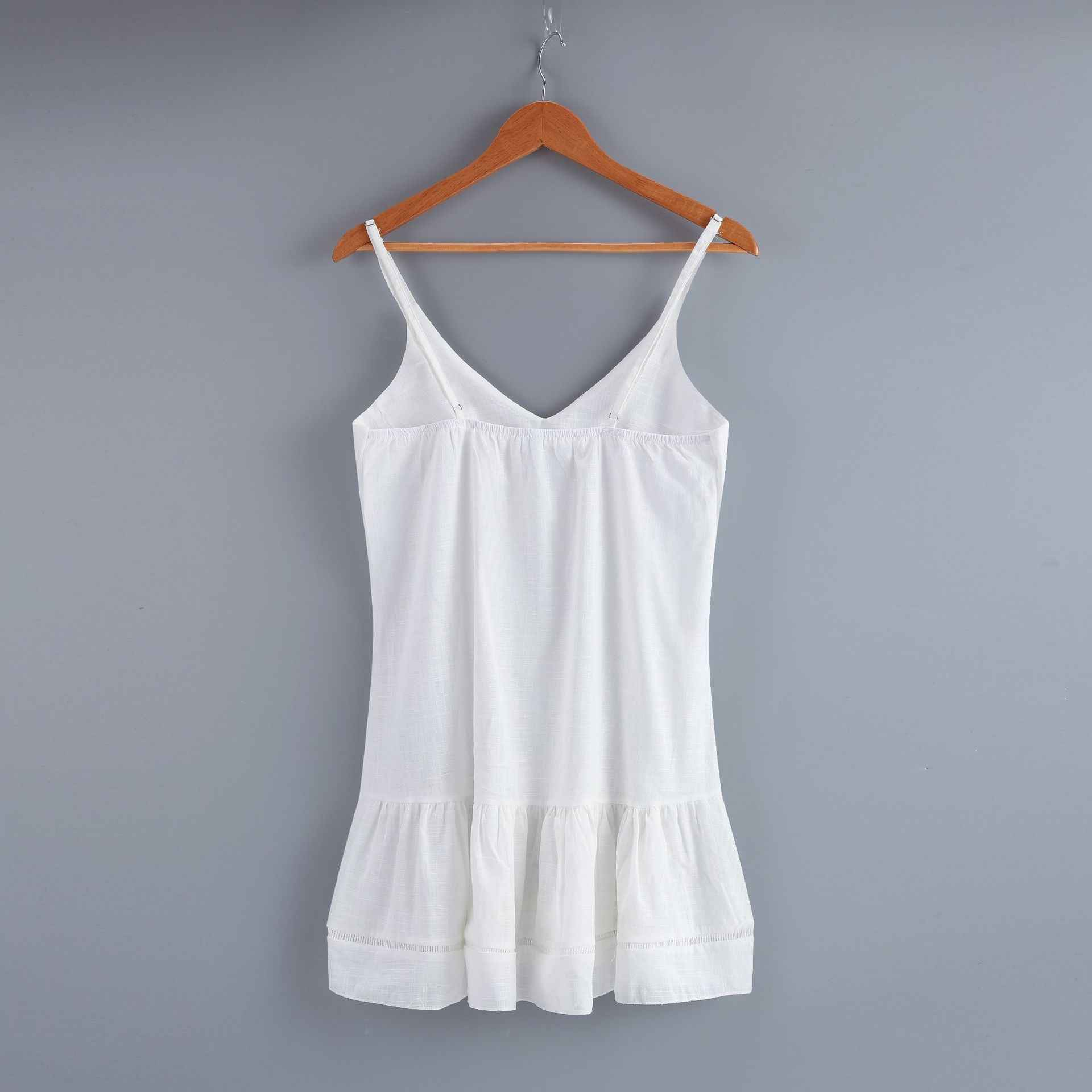 2019 Sexy blanc profond col en V épaules dénudées licou à volants Mini robe femmes robe moulante robe blanche tenue de club