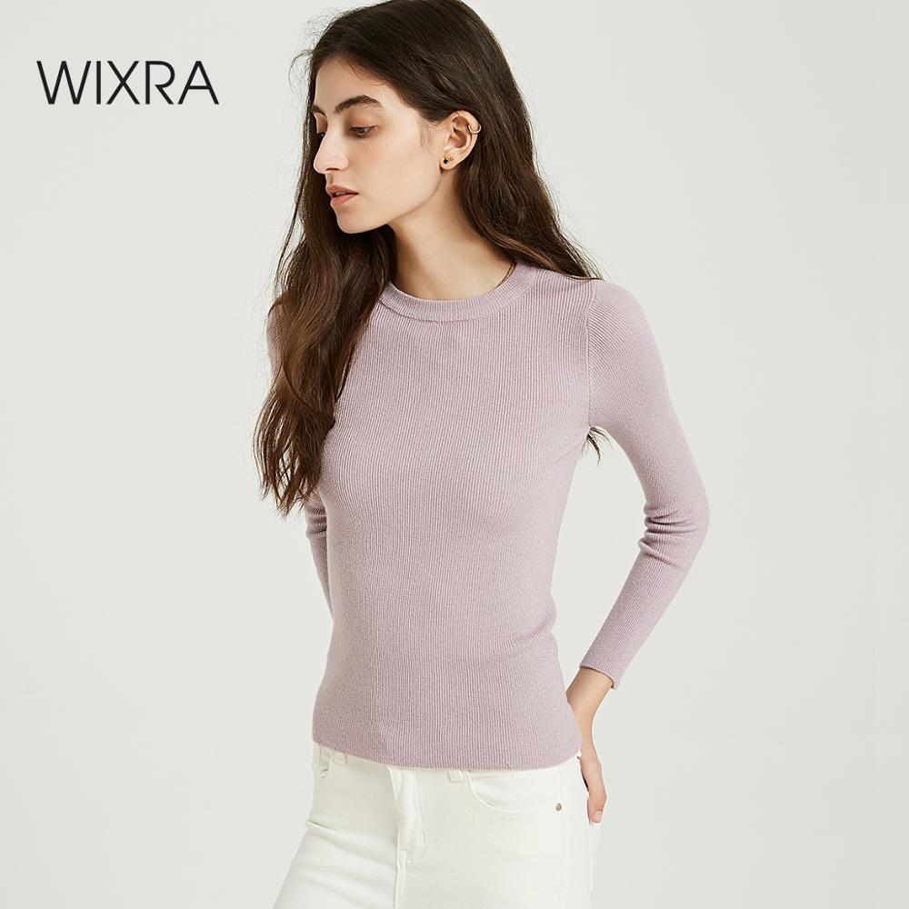 Wixra doux chaud femmes chandails et pulls 2019 automne printemps O cou dames tricoté pull femmes pulls